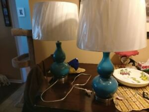 living room table lamps like new turquoise color$100.00