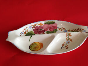 Simpsons Chanticleer Ware Belle Fiore  3 Section Pickle /Hors D