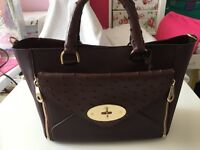 Mulberry Small Willow Tote in Mix Ostrich leather in Oxblood