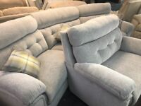 SCS Destiny curved sofa and love seat and footstool brand new