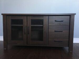 TV Media Cabinet with 2 Glass Doors and 1 Door