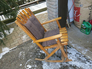 Wood Rocking Chair with Cushion