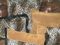 Brand New Custom Never Used Down Feather Leopard & Suede Pillows