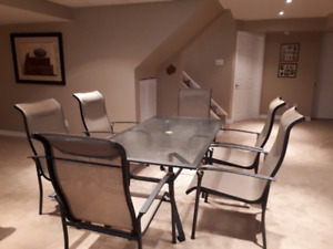 PATIO SET - glass table and 6 chairs