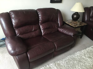 Leather reclining loveseat and recliner set