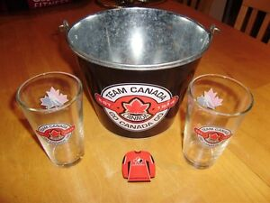TEAM CANADA ICE BUCKET, GLASSES AND MAGNET