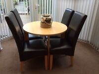 Round Table with 4 Leather Chairs - Great Condition