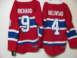 MONTREAL CANADIENS ADULT PRICE ROY BELIVEAU RICHARD GALLY JERSEY