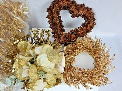 Nos Winter Christmas Gold Frozen Gilded Spray Twig Bouquet Heart Cone Wreath -