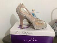 Lunar Elegance Cinderella glass slippers ( wedding or prom shoes)