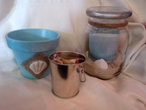 Beachy set (Flower pot, miniature tin with shells, candle )