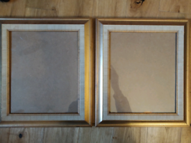 2 Silver Gold 11.5 x 9.5 Picture Frames - Aged and Worn Look