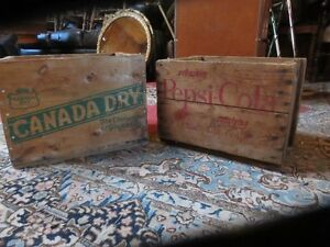 2 CANADA DRY AND PEPSI COLA WOODEN CRATE BOXES GREAT CONDITION