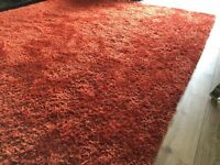 Reduced large deep pile orange rug