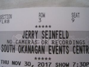Jerry Seinfeld Tickets Nov.30 Penticton.