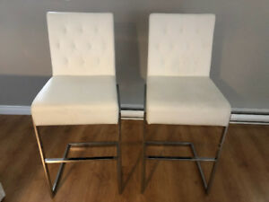 White Faux Leather Bar Stools