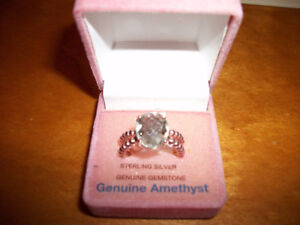 Rose Gold Plated Silver Ring w/ Oval Mix Cut Green Amethyst Cert
