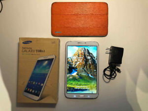Samsung Galaxy Tab 3, 8 inch, 16GB, case, box and charger - 140$