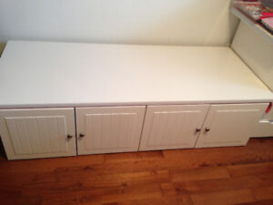 Bench made of kitchen cabinets