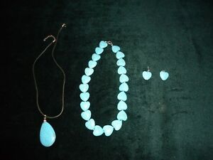 blue  stone necklace and  ring