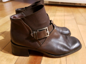 Dark Brown Nine West Leather Boots size 9