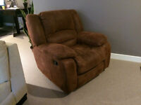 Microfiber (faux suede) Recliner Chair Rust / Brown EUC