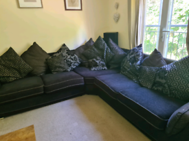 Black corner sofa and love chair