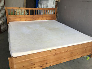 King size bed with  ( tempurpedic mattress )