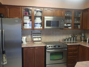 Solid Wood Kitchen cabinet set and pantry