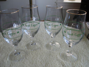 "SET of FOUR GLISTENING ""IRISH COFFEE"" STEMWARE"
