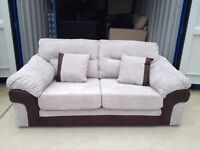 Dfs Silver Cord & Brown Faux Leather 2 seater sofa (New ex display)