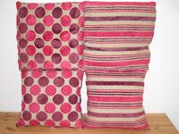 4x Four Pink Purple Stripe Polka Dot Fluffy Soft Sofa Chair Cushions £4 Total