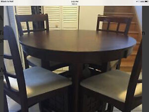 Table de cuisine en bois avec ralonge  et 4 chaises