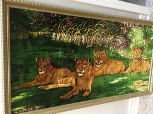 BEAUTIFUL WALL LION PICTURE ON CANVAS FOR SALE