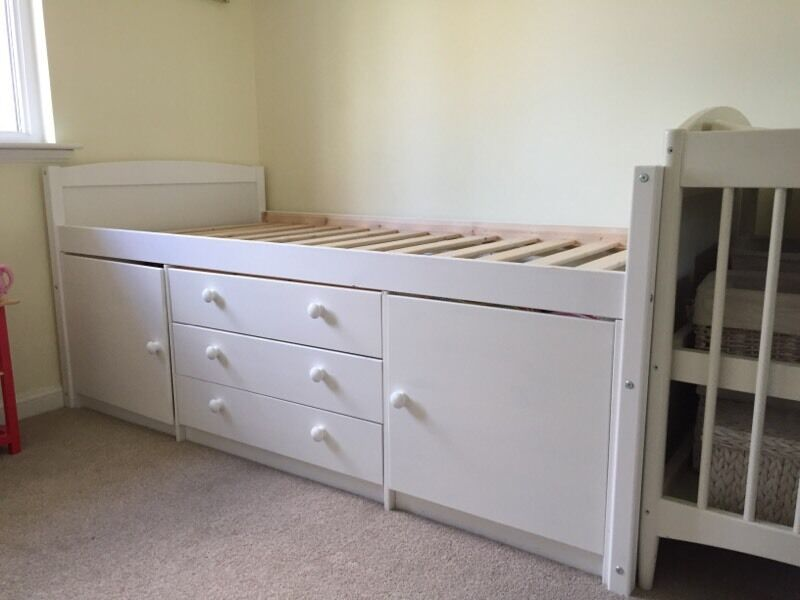 Single White Cabin Bed With Storage Ladder Tory Mid Sleeper