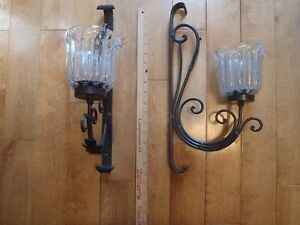 2 Glass and Iron Candle Wall Sconces
