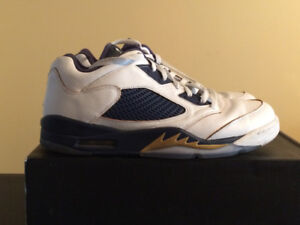 Air Jordan 5 Retro Low  -  White/Gold/Mid Navy - Size 13