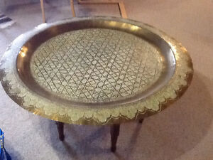 Vintage Hand Etched Moroccan Brass Table