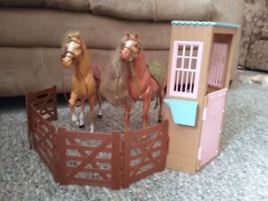 2 barbie horses and stable, barbies sit perfectly on the horses