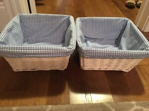White Storage Baskets with Blue Gingham Liners