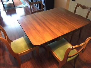 Antique Original 1945 Duncan Phyfe Table & 4 Back Rose Chairs