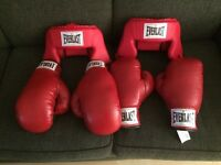 Boxing gloves and headgear Everlast