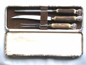 carving set  - antique -  knife, fork and knife sharpener -