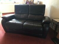 Classic Black Italian Leather Suite