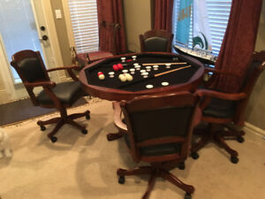 Bumper Pool Table and Swivel Chairs. No Poker Top,like new