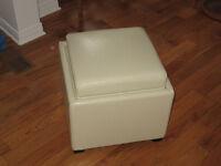 Leather Storage Cube --Cream colour