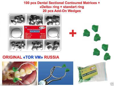 Dental Sectional Contoured Matrices Matrix 100 Pcs 40 Silicone Wedges Tor Vm
