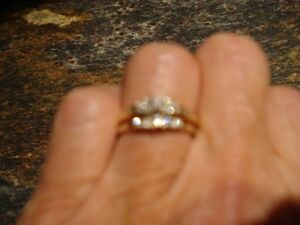 Round diamond engagement ring and diamond accent ring - size 7
