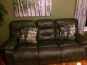 Grey leather Couch & love seat