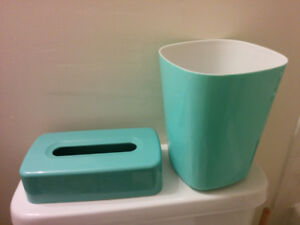 Waste Can and Tissue Box Cover - Seafoam Green